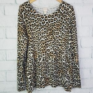 Chico's Leopard Print Long Sleeve Blouse